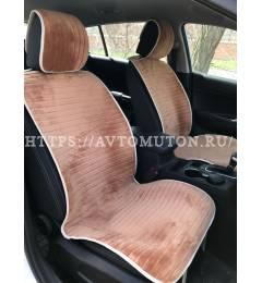 """Накидки из велюра Monako на сиденья авто - """"коричневые"""""""